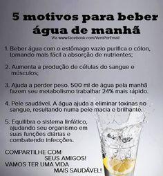 Motivos para beber água de manhã. Saiba como fazer mais coisas em http://www.comofazer.org