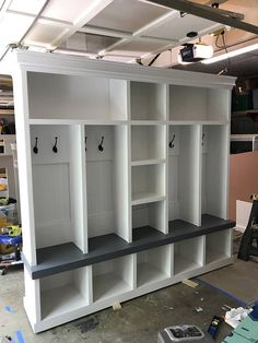 Mudroom Entryway bench/shoe storage/organization/mudroom/hall tree/coat rack/shoe storage/ Entryway bench with storage - Caren Fish Kevin Clow Home Organization, Mudroom, Home Projects, Home, Home Remodeling, Locker Storage, Mudroom Lockers, Home Diy, Entry Way Lockers