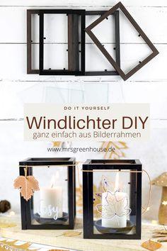 DIY Windlicht ganz einfach aus Bilderrahmen selber bauen und herbstliche Blätter mit Lackstiften aufmalen. Die ausfürliche Anleitung für die Skandi Winlichter findest du auf meinem Blog