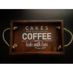 Retro Ahşap Kahve Tepsisi