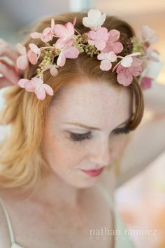 A very unique use of panicle hydrangeas! Pale pink hydrangea flower crown by Brrch. Photographed by Nathan Ramirez.