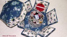 Caixa de costura completinha com linhas, agulhas, fita métrica, alfinetes...lindinha