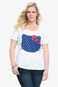Hello Kitty Polka Dot Face Scoop Neck Tee