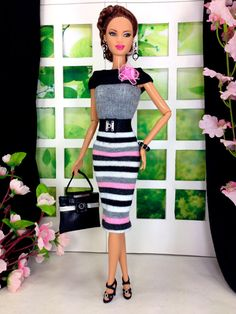 Barbie Doll Clothes Handmade Striped Dress by EnchantedStyles, $22.00