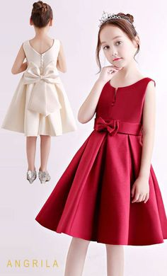 Simple Knee-length Satin Flower Girl Dresses with Bow : This satin bow knee-length online flower girl dress at cheap price. Angrila girl flower girl dresses are cheap and come in different colors. African Dresses For Kids, Girls Party Dress, Little Dresses, Little Girl Dresses, Cute Dresses, Girls Dresses, Flower Girl Dresses, Bow Dresses, Dress Girl