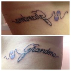 My grandma died of Alzheimer's disease in February 2013. Got the Alzheimer's association symbol tattooed on my ribcage in memory of her along with grandma connected to it. Rest easy grandma. Love and miss you everyday<3