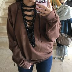 Hoodies Tops Pullover Hollow Out Deep V Long Sleeve Women's Fashion T-shirts Looks Style, Looks Cool, Style Outfits, Cute Outfits, Diy Fashion, Fashion Outfits, Womens Fashion, Look Con Short, Le Happy
