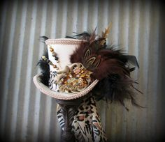 Mini Top Hat, Leopard Print Hat, Alice in Wonderland, Mad Hatter Hat, Mad Tea Party, Kentucky Derby, Bridal shower hat, Royal Ascot