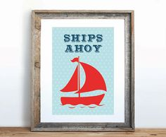 "Nautical Print ""Ships Ahoy"" Downloadable Art Print"