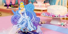 Decorate your table with a Disney Cinderella Sparkle Centerpiece Kit to match your Cinderella themed party!   #cinderella #movie #disney #princess #party