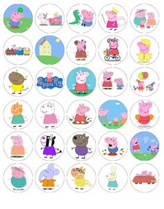 Peppa Pig wafer paper edible cake toppers birthday decorations x 30