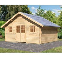Abri de jardin 25.70m² en bois massif brut 40mm Girion - Karibu - Maison Facile : www.maison-facile.com