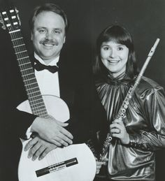 Duo Sequenza, Debra Silvert, Paul Bowman, Flute, Guitar, Classical Music, Chamber Music, Black and White, Vintage