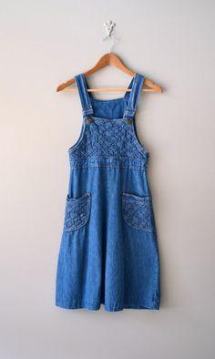 chasuble - 1970s denim dress / denim jumper dress / Chrissy dress. $58.00, via Etsy.
