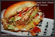 Tasty & Tangy Asian Chicken & Coleslaw Sandwich. (skip the bun and eat as a salad)