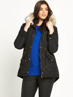 So Fabulous! Detachable Faux Fur Hooded Parka - Black Cover up in comfy style this cold weather season in this plus sized parka coat by So Fabulous!With multiple pockets, zip fastenings and popper buttons this coat is a definite fave of ours for keeping us snug and cosy on even the chilliest of days, while the faux fur detachable hood is a must-have of the season, adding a plush finish to an everyday piece.Button this parka up over a long sleeved top and So Fab! skinny jeans, adding a pair…