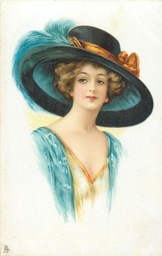 lady facing partly right in cream dress, blue throw, blue hat with yellow hat-band & blue feathers