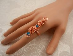 Copper Statement Swirl Ring with Blue Crystals by ShiriDaniella, $20.00