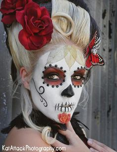Incredible Day of the Dead makeup! Could do hair like this with balloons for L.