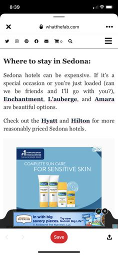 Sedona Hotels, Grand Canyon Vacation, Cetaphil, Sun Care, Sensitive Skin, Special Occasion, Nutrition