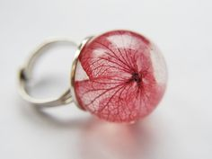Pink Hydrangea Ring Real Flower Jewelry Resin Jewelry Globe Ball Orb Large Statement Adjustable Resizable. $48.00, via Etsy.