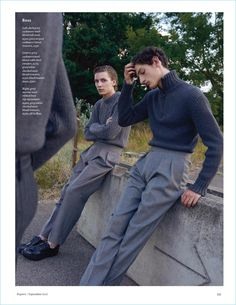 """justdropithere: """"Gabriel Besnard & Aaron Shandel by Sarah Blais - Esquire UK, Sep 2017 """" Boy Fashion, Mens Fashion, Fashion Outfits, Fashion Design, Fashion Tips, Fashion Trends, Fashion Hair, Spring Fashion, Cool Outfits"""
