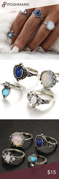 SET OF 4 boho bohemian stone silver rings silver rings with different stones. beautiful & bohemian. SIZES : 2, 6.25, 5.75, 6.25. NO TRADES. not free people, here for views. make me an offer! Free People Jewelry Rings