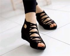 Details about Stylish criss cross low wedge heel sandals women shoes