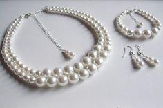 Pearl bridal jewelry set Sterling Silver by SheRocksJewellery