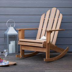 Rocking chair fauteuil à bascule acacia couleur teck Riverhauk : Decoclico