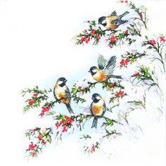 napkins christmas,  Animals - birds,  Christmas,  lunchnapkins,  birds,  snow