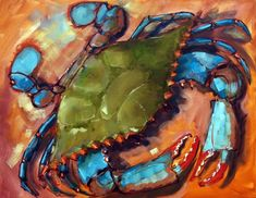 The Aristocrab, painting by artist Rick Nilson Crab Art, Fish Art, Crab Painting, Painting Canvas, Sea Turtle Art, Louisiana Art, Nautical Art, Coastal Art, Tropical Art
