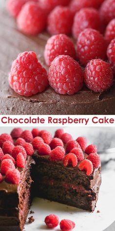 Healthy Cake Recipes, Homemade Cake Recipes, Delicious Cake Recipes, Fun Baking Recipes, Yummy Cakes, Yummy Yummy, Healthy Food, Raspberry Cake Filling, Chocolate Raspberry Cake