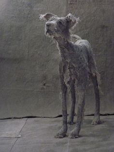 Linen dog sculpture by Helen Thompson at Holy Smoke