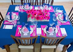 Amazing colors!!!  I love the centerpiece and the stripe napkins.  Great table!!