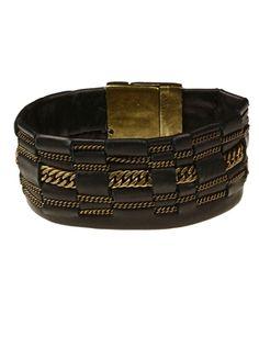 Sandrine De Montard - Sandrine De Montard Woven Leather Antiqued Brass Chain Bracelet