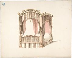 Design for a Curtained Four Poster Bed with Brown, Pink and White Striped Curtains Anonymous, British, 19th century