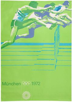 Otl Aicher, poster artwork for Track and Field hurdles, Olympic Games 1972 in Munich Style International, International Typographic Style, 1972 Olympics, Summer Olympics, Helmut Schmid, Olympic Track And Field, Track Field, Otl Aicher, Poster Design