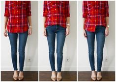 The Asymmetrical Tuck Button Down. There are two ways you can do it: In the middle: The full half-tuck is more of a structured look, again opening up the line of the leg and avoiding the body being cut in half at the widest part of your body (like in the before picture). At the right: the half half-tuck is more of a loose and undone look, and makes a totally different statement. It also opens up the line of the leg and doesn't cut the body in half, but achieves it in a slightly messier way.