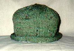 A very easy rolled brim hat knitted on the round.  Pattern is free from knttingonthenet.com