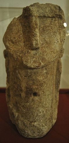 Phoenician goddess. Fenicia. Cabezapunica Fenicia idol found in Cartagena (Spain).    Archaeological Museum of Cartagena.