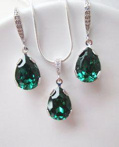 Conjunto de joyas verde esmeralda joyería de por Uniquebeadables