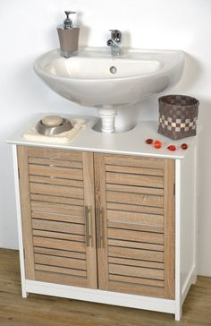Amazon.com - Bath Vanity Cabinet Stockholm Brown Bamboo Oak 2 Doors 1 Shelf -