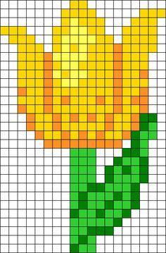 Yellow Spring Tulip Perler Bead Pattern / Bead Sprite - Sprite - Ideas of Sprite Simple Cross Stitch, Beaded Cross Stitch, Cross Stitch Flowers, Cross Stitch Embroidery, Hama Beads Patterns, Beading Patterns, Cross Stitch Designs, Cross Stitch Patterns, Modele Pixel Art