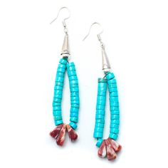 """Handcrafted Native American Earrings Authentic Turquoise Beads Sterling Silver Measures 2"""" down One of Kind Vintage Turquoise gem stone has been believed to be a holy stone, and used for getting rid o"""