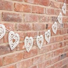 Wedding Cream Heart Bunting - decorative accessories
