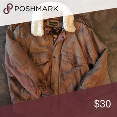 Vintage leather bomber jacket True vintage! Beautiful condition; removable fur collar The Limited Jackets & Coats