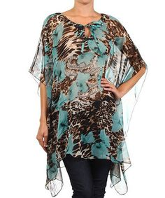 Loving this Turquoise Jungle Sheer Sidetail Tunic on #zulily! #zulilyfinds