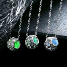 £4.25 Ball Glow In The Dark Luminous Silver Plated Necklace Pendant Various Colours #luminous #pendant
