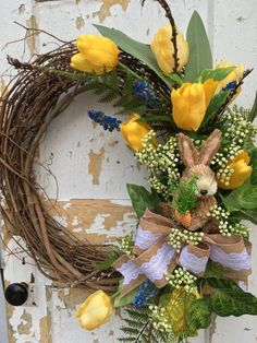 Easter Wreath Easter Bunny Wreath Spring Wreath by FlowerPowerOhio